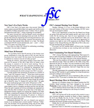 FSC Newsletter January 2015