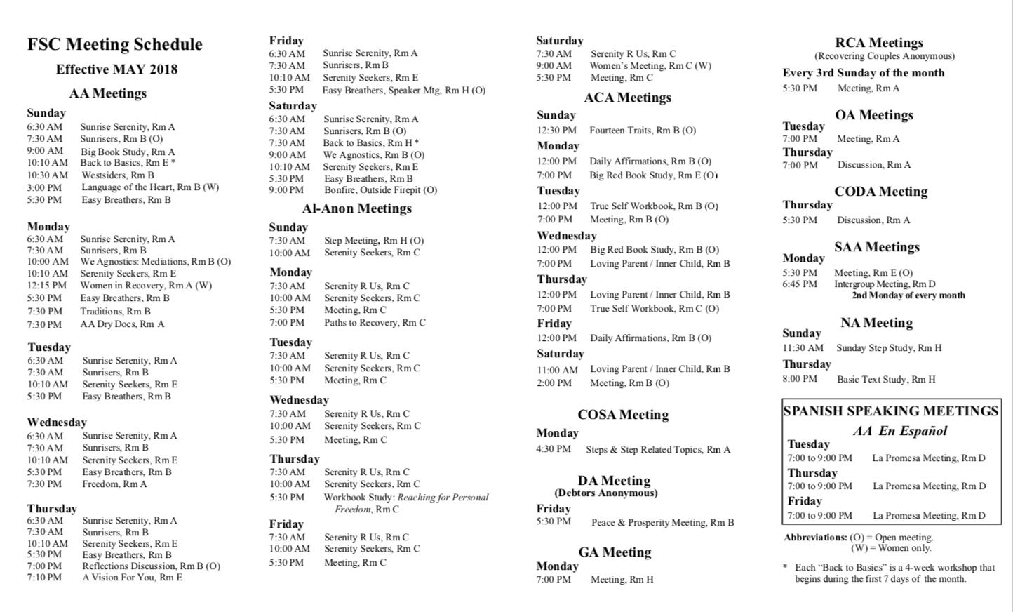 Fitchburg Serenity Club - AA Meeting Schedule
