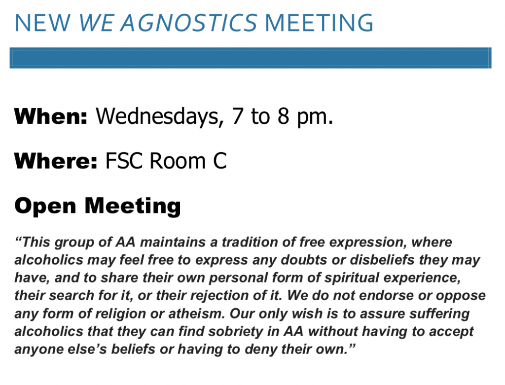 Agnostic Meeting at Fitchburg Serenity Club