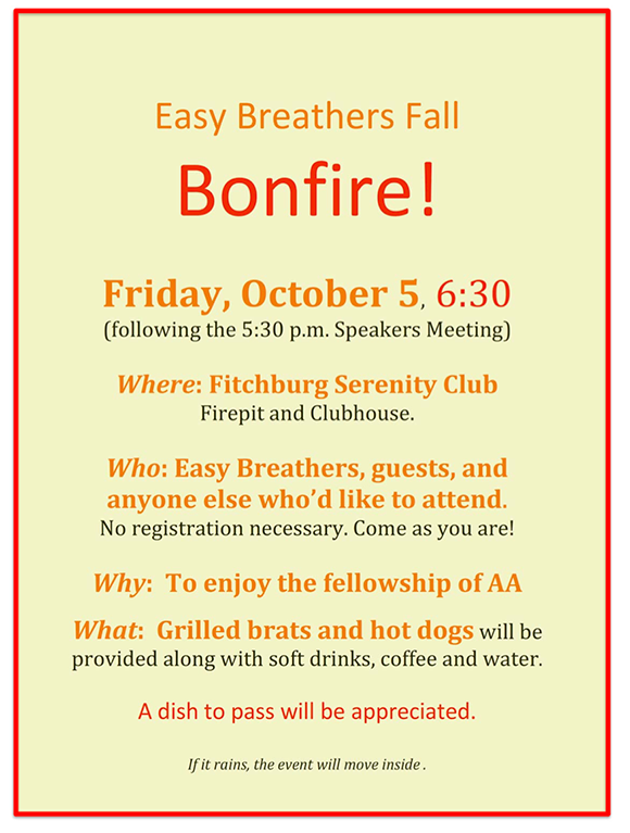 Easy Breathers Fall Bonfire at FSC