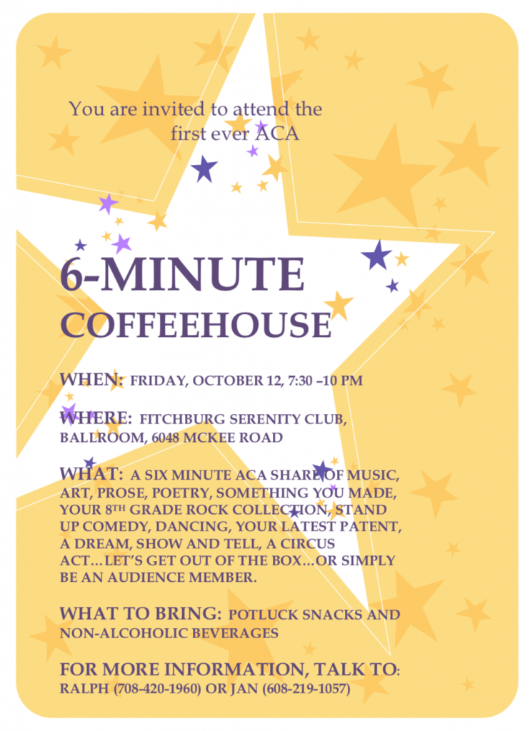 Fitchburg Serenity Club Coffeehouse AA Meeting
