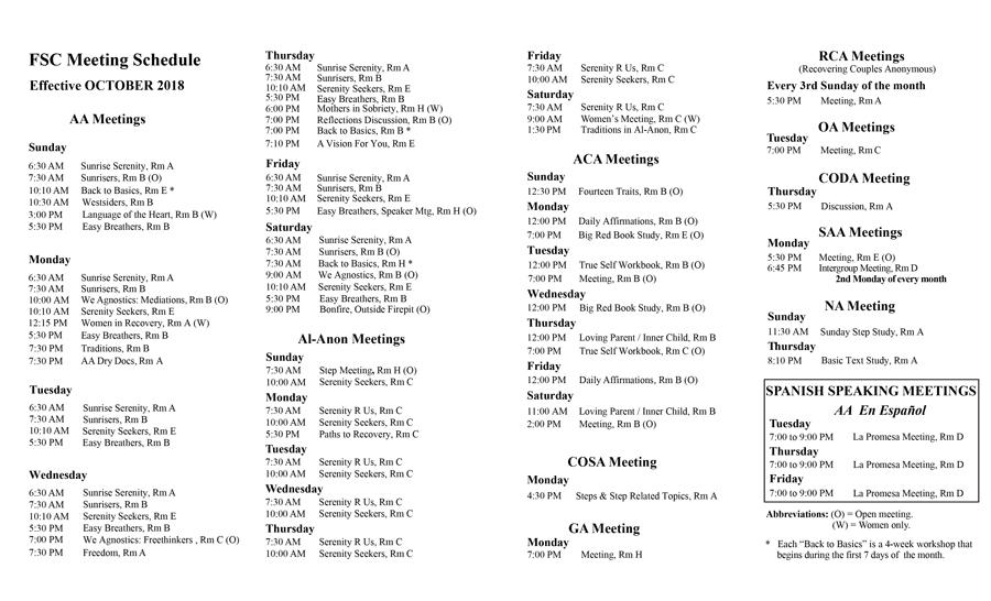 Fitchburg Serenity Club - AA, Al-Anon, ACA, NA Meeting Schedule