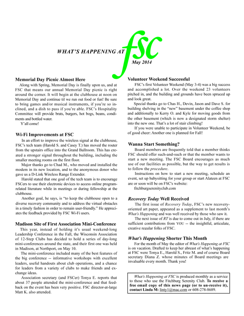 FSC May Newsletter