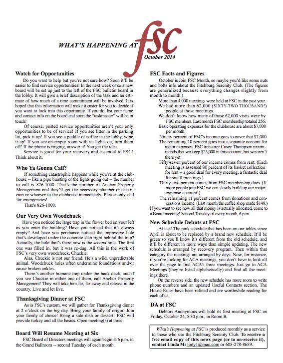 Fitchburg Serenity Club Newsletter