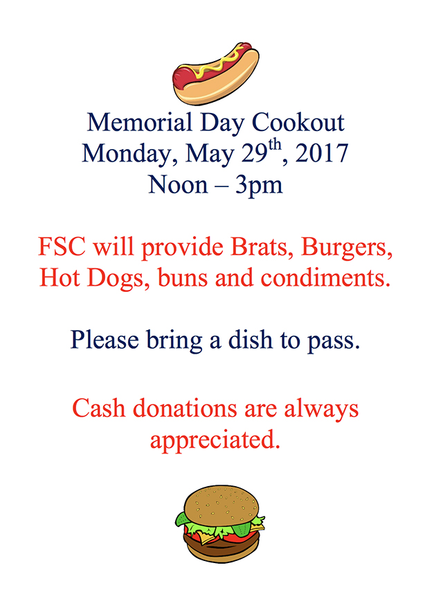 Memorial Day Cookout at Fitchburg Serenity Club 2017