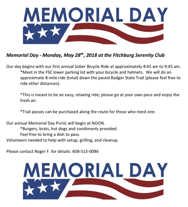Memorial Day at Fitchburg Serenity Club